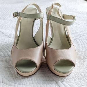 Nine West blush and moss platform sandals